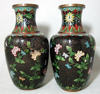 A Beautiful Pair Of Early 20th C Chinese Cloisonne Vases