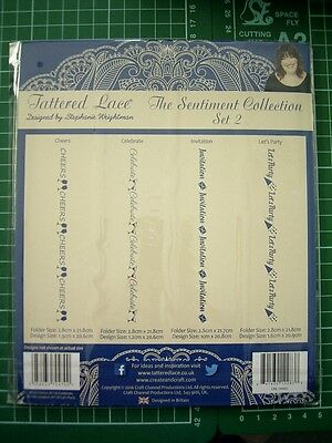Set 2 SENTIMENT COLLECTION  4 BORDER EMBOSSING FOLDERS Tattered Lace 21.8cm long