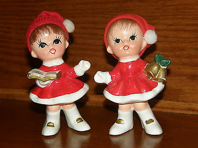 2 Vintage Christmas Girls Pixies Elf Realistic Hair Cloth Stocking Hat Ceramic