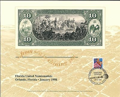 B224 BEP Souvenir Card FUN 1998 DeSoto $10 National Currency Note Intaglio Print