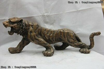 Chinese Fengshui Bronze Lucky Wealth Chinese Zodiac Animal Tiger art Sculpture