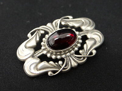 Auth Georg Jensen Brooch Pin Red Stone Silver 925 Denmark 0Ship 25130678200 L04F