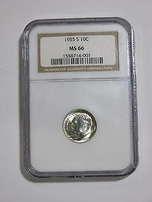 1955 S Mint Roosevelt Dime 10 Cent Ngc Graded Ms66 From Old Collection Lot Cheap