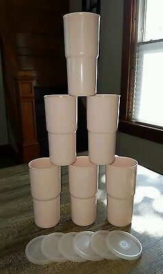 Six Tupperware Vintage Tumblers & Lids Pink Rose 18 oz J 2413B Stackable Cups
