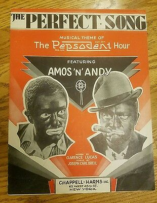 """Vintage 1929 Amos And Andy Original Sheet Music """"the Perfect Song""""  Black Face"""