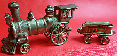 "Brass 2pc Metal Train Locomotive & ""187"" Wagon Near Perfect ART Display Xmas"