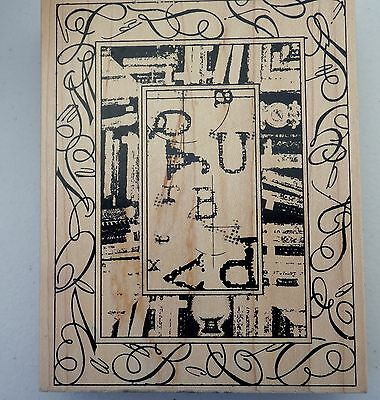 Club Scrap Rubber Stamp Bookcase Collage Large Limited edition used Library
