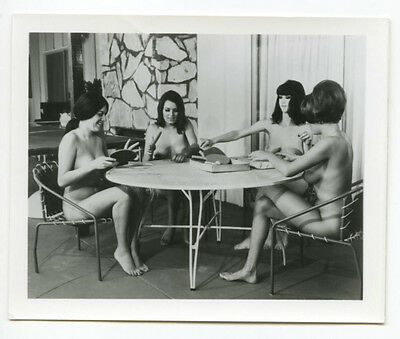 1960's Vintage Nude Photo~4 Perky Busty Big Boobs Nudist Pinups Sitting Outside