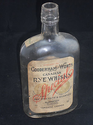 Gooderham & Worts Canadian Rye Whiskey Pint Bottle Toronto