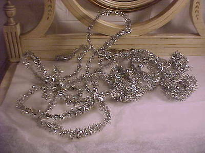 Vtg Christmas Ornament Narrow Vintage Silver Tinsel Strands for Tree or Package