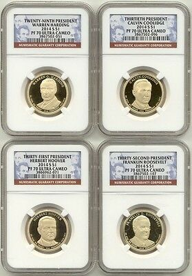 2014 S Presidential Dollar 4 Coin Proof Set NGC PF70 Ultra Cameo UC PR70 $1