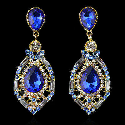 Women 18K Gold Plated Swarovski Crystal Large Party Earrings 0160