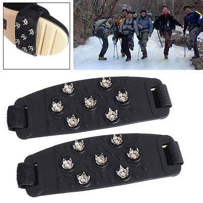 Snow Ice Climbing Shoe Spikes Grips Cleats shoes Cover Crampons 7-Stud Anti Slip
