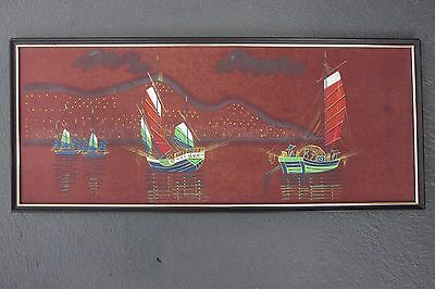 VINTAGE CHINESE JUNK SAILING SHIP PICTURE KITSCH 1960s 1970s