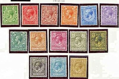 GREAT BRITAIN 1912-13 KGV set MM VF $250
