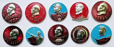 Set of 10 Different Cultural Revolution Chairman Mao Tse-Tung Pins Badges