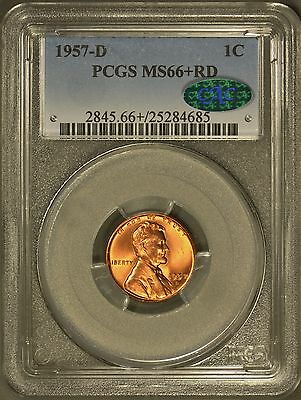 1957-D Lincoln Cent PCGS MS 66+ Red - CAC Approved!