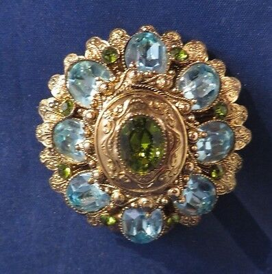 Vintage HATTIE CARNEGIE Signed Brooch Pin or Pendant - Blue & Green Stones