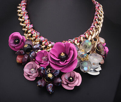18k Gold Plated Rhinestone Swarovski Crystal Party Floral Necklace NK13918