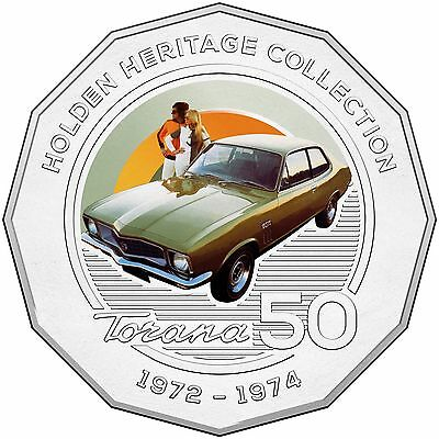 2016 RAM 50c UNCIRCULATED COLOURED COIN HOLDEN HERITAGE COLLECTION LJ TORANA