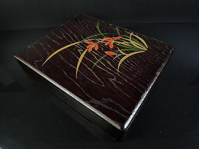 E3752: Japanese Wooden Lacquer ware Flower pattern INKSTONE CASE Box
