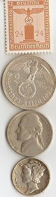 *free *us *WWII- nickel + *WW2 - *german  SILVER  EAGLE coin/stamp