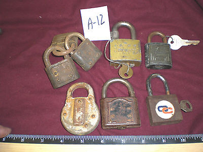 (* A-12 ) 8  Vintage padlocks, mixed types