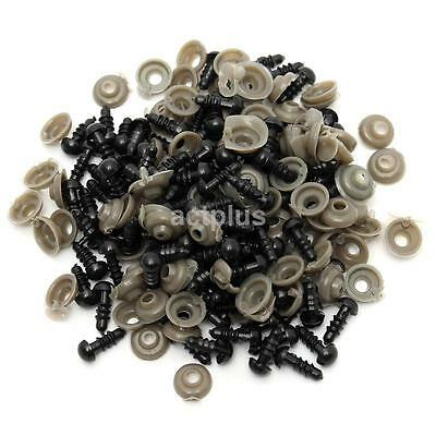 100pcs 6-18MM Black Plastic Safety Craft Replacement Eyes For Bear Doll Toy US