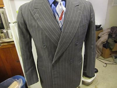 Vintage style 40s men's double breasted gray suit custom tailored bespoke 39 S