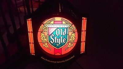 Vintage Old Style Lighted Beer Sign With Stain Glass Look Very Nice