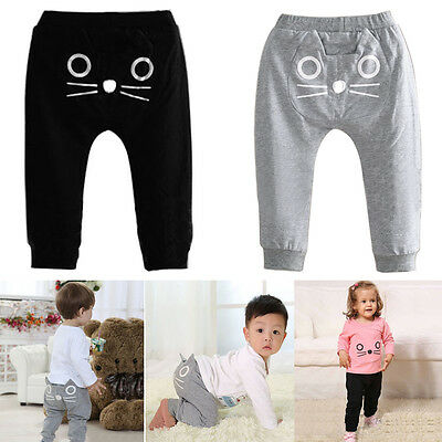 Toddler Baby Boys Girls Kitty Cat Winter Long  Harem Pants Baggy Casual Trousers
