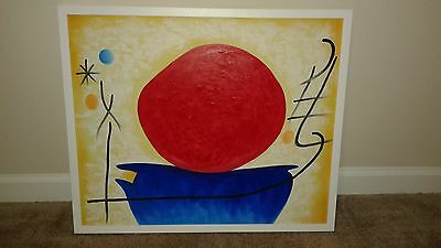 """Ohne Titel The Red Sun with studio white wood frame (20"""" x 24"""") Oil On Canvas"""