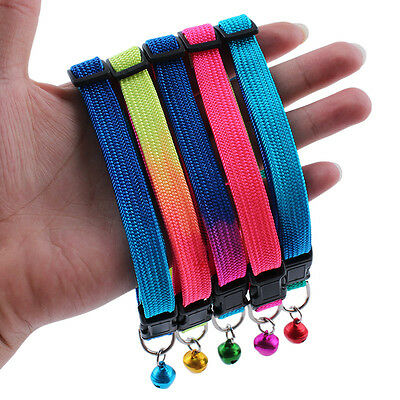 2016 Rainbow Soft Glossy Reflective Safety Buckle Dog Puppy Cat Collar With Bell