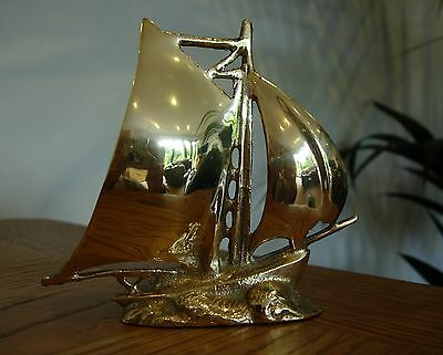 Small Unusual Nautical Vintage Metal Brass Boat Yacht Ship Statue Ornament Gift