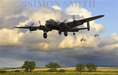 Raf Lancaster Greetings Birthday Card Aviation Art Bomber Command  Mini Print