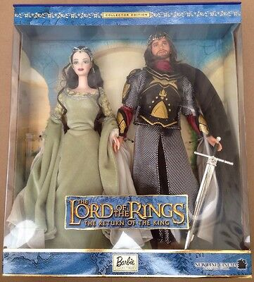 LOTR Barbie and Ken as Arwen & Aragorn NRFB + Certificate of Authenticity