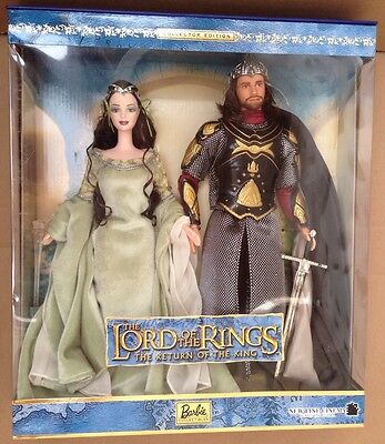 LOTR Barbie Lord of the Rings Arwen Ken Aragorn Dolls Doll & Cert Authenticity