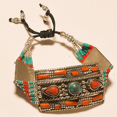 Fabulous Turquoise & Red Coral .925 Ebay Store Silver Jewelry Bracelet
