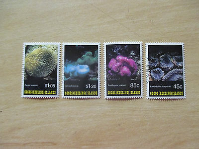 -- 1993 -Cocos    Corals    Issues- 4   Stamps - Cancelled   Stamps  --A1