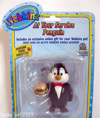 NIB Webkinz AT YOUR SERVIVE PENGUIN  Figure w/code FREE SHIPPING Factory Sealed