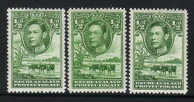 BECHUANALAND 1938-1952 DEFINITIVES SG118 x 3 COLOUR VARIETIES MIN CAT £24+