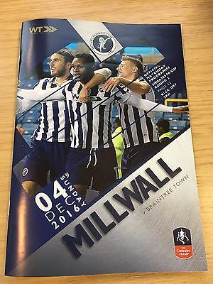 Millwall Vs Braintree Town Programme. FA Cup Second Round. 4.12.2016