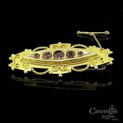 Outstanding 9ct Gold And Rhodalite Garnet Edwardian Brooch