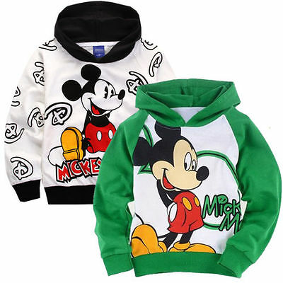 2016 Mickey Mouse Kids Boys Girls Cotton Hoodies Unisex Clothes Outwear Age 2-9Y