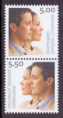GREENLAND 2004 stamps Prince Fredrik & Mary se-tenant pair um (NH) mint #a