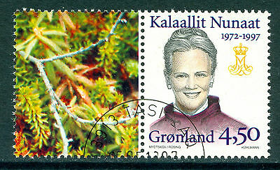 GREENLAND 1997 booklet stamp Queen Margrethe fine used (CTO) with label #b