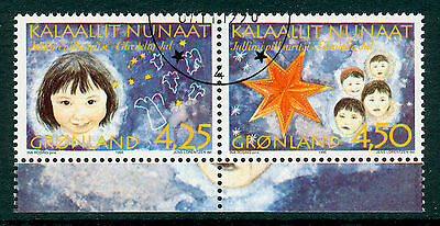 GREENLAND 1996 booklet stamps Christmas fine used (CTO) se-tenant pair #a