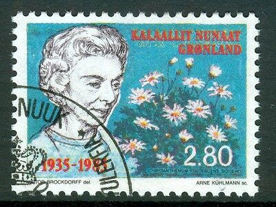 GREENLAND 1985 stamp Queen Ingrid fine used (CTO) Flowers