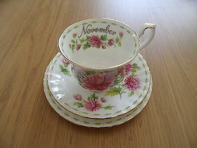 """Royal Albert Flower of the Month Trio """"November"""" - in superb/as new condition"""