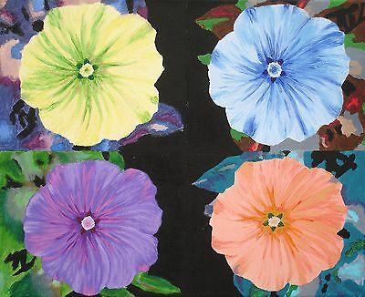 Four Petunia Flowers - ART ORIGINAL PAINTING - ACRYLIC ON CANVAS